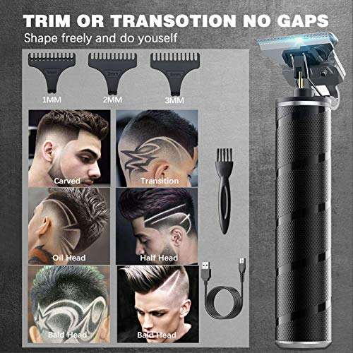 Electric Hair Clippers for Men, Professional Barber Haircut Kit Zero Gapped Beard Trimmer, Cordless Rechargeable T-Bladed Close Cutting Outliner Grooming Shaver Hair Clippers for Baldheaded