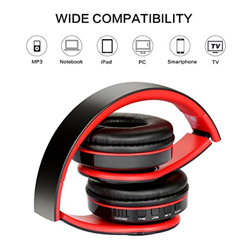 Over Ear Bluetooth Headphones, Foldable Hi-Fi Deep Bass Wireless Headphones with Microphone and Wired Headset Support SD/TF Card for Travel Work Cell Phones PC (Red)