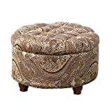 Meadow Lane Round Storage Ottoman, Brown and Teal Paisley Print