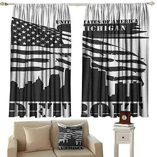 DuckBaby Printed Curtain Detroit Monochrome Grunge City Silhouette American Flag United States Michigan Tie Up Window Drapes Living Room W63 xL63 Charcoal Grey White