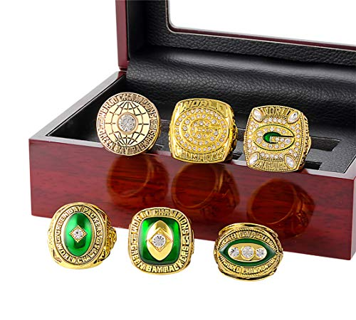 (DINO 1996 Year Men's Retrol European and American Green Bay Packers Championship Wooden Box Set Rings,Size 10)