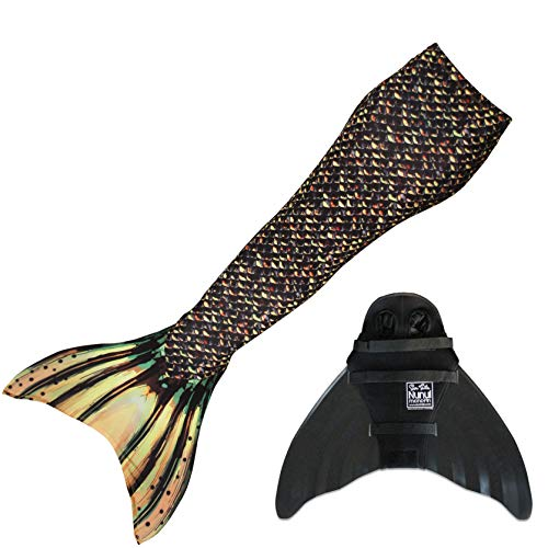 Custom Mermaid Costume (Sun Tails Mermaid Tail + Monofin for Swimming (5- Teen/Adult M (JM 8-10), Sea Monster - Black)