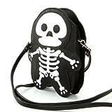 Premium Leatherette Skeleton Shoulder Bag in Black