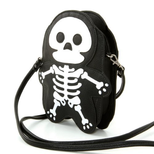 Halloween Purses - Premium Leatherette Skeleton Shoulder Bag in Black