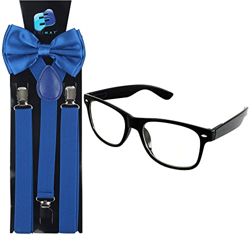 Enimay Suspender Bowtie Wayfarer Clear Glasses Nerd Costume Halloween Royal Blue