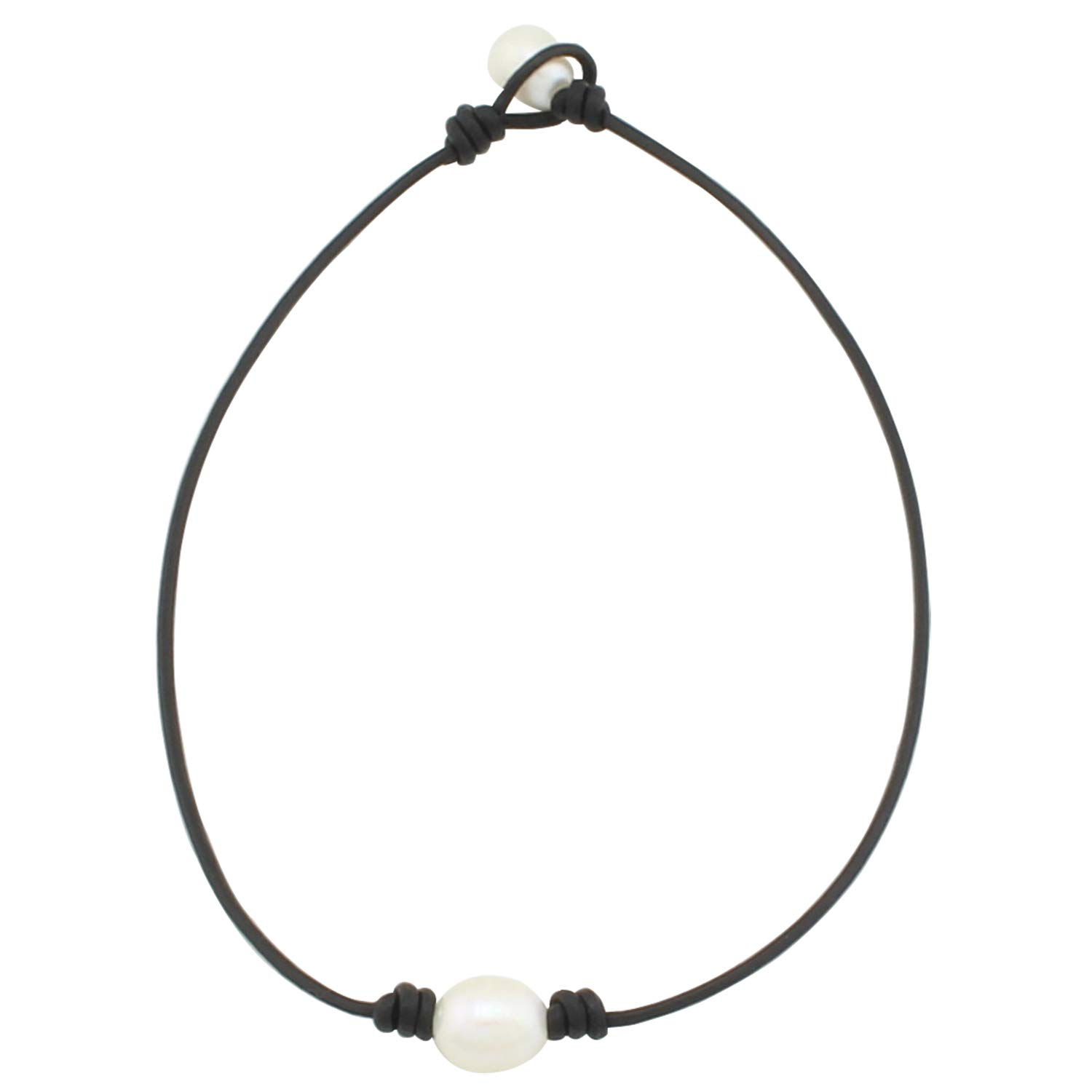ba563769c0ee58 Amazon.com: Wunionup One Pearl Black Leather Necklace - Real Leather Wrap  Around Costume Rope Choker Necklace with 2.0mm Black Genuine Leather Cord  and AA ...