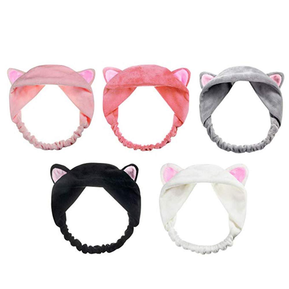 Yillsen Elastic Velvet Cat Ears hairband, Washing Face Shower Headbands, Makeup Hairbands, Beauty Lovely Spa Headbands For Women Girls Running Sport