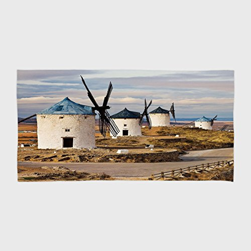One Side Printing Hotel SPA Beach Pool Bath Hand Towel,Windmill Decor Medieval Spain Windmills in Consuegra Old Historical Landmark Decorative Blue White Light Brown,for Kids Teens and Adults by iPrint