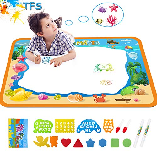 Water Drawing Aquadoodle Magic Mat - TFS Kid Painting Writing Color Doodle Board Toys with Magic Pens, Educational Learning Mats Best Xmas Gift for Toddlers Boys Girls Age of 2,3,4,5,6 Year Old