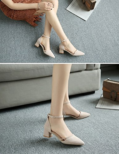Shoes Heeled with Coarse Thick Sandals Shoes color Nude ZCJB Pointed High Heel EZnEq4S