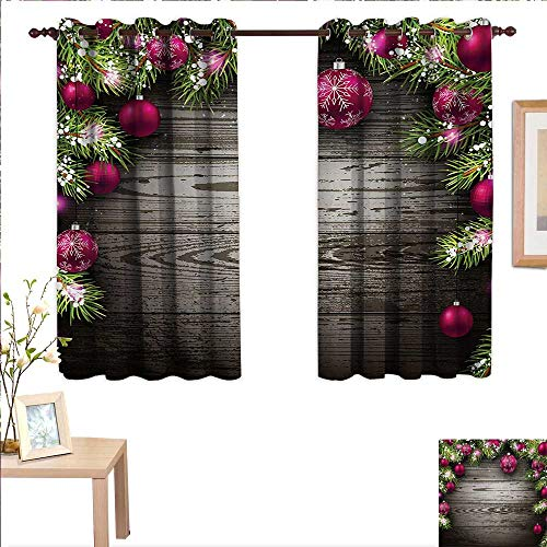 BlountDecor Christmas Drapes for Living Room Old Fashioned Concept with Twigs and Balls on Rustic Wood Vintage Design Print 55
