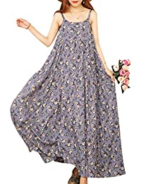 Women Casual Loose Bohemian Floral Print Empire Waist Spaghetti Strap Long Maxi Summer Beach Swing Dress E75