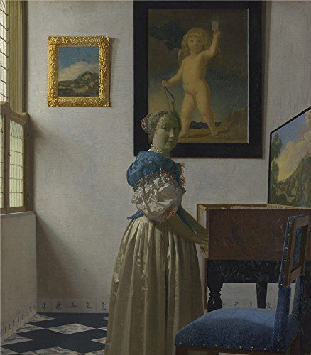 French Revolution Female Costume ('Johannes Vermeer A Young Woman Standing At A Virginal ' Oil Painting, 12 X 14 Inch / 30 X 35 Cm ,printed On Polyster Canvas ,this High Quality Art Decorative Canvas Prints Is Perfectly Suitalbe For Bathroom Decor And Home Decoration And Gifts)