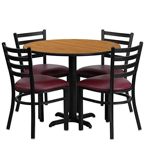 Dyersburg 5pcs Table Set Round 36'' Natural Laminate X-Base, Burgundy Chair by iHome Studio