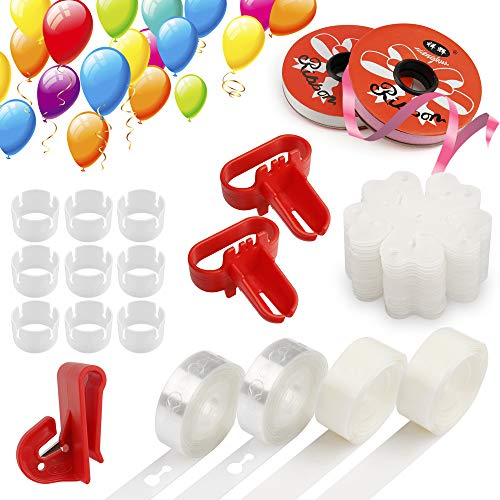 Mocoosy Balloon Decorating Strip Kit, Balloon Arch Garland Kit with 32Ft Balloon Tape Strip, 2 Pcs Tying Tool, 200 Dot Glue, 10 Flower Clip, 20 Rings Buckle, 144Ft Ribbon, 1 Balloon Cutter for Birthday Wedding Baby Shower Party Decorations ()
