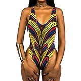 Romacci Women One-Piece Swimsuit Swimwear African Totems Print Monokini Push up Padded Bikini Bathing Suit Beachwear
