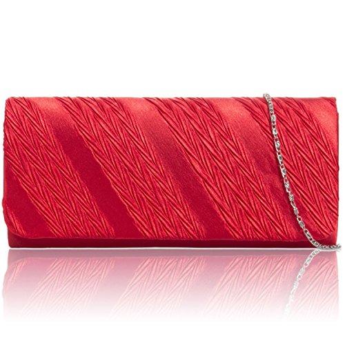 Xardi London - bolsa de mano de fiesta satén, plisada, de Mujer, rígido,  para mujer, de noche Red