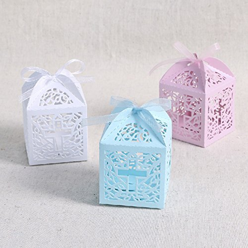 (JoinwinNew Design 50 Pack Cross Laser Cut Favor Box Christening Baby Shower Bomboniere with Ribbons Party Favors (Pink))