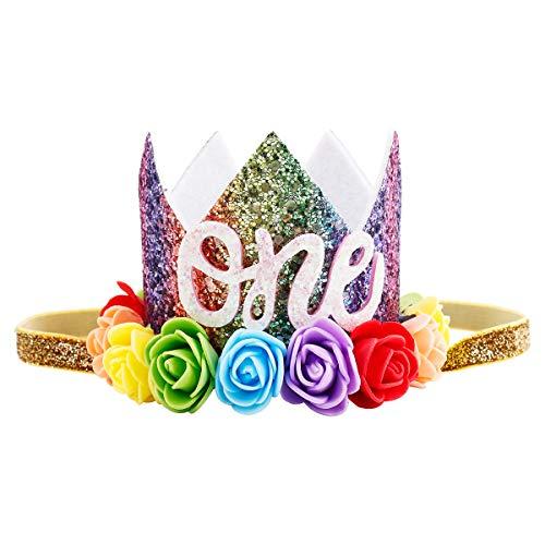 iMagitek Baby Girl 1st Birthday Party Crown Flower Floral Tiara Headband