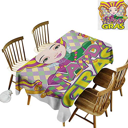 Mannwarehouse Mardi Gras Stain-Resistant Tablecloth Carnival Girl in