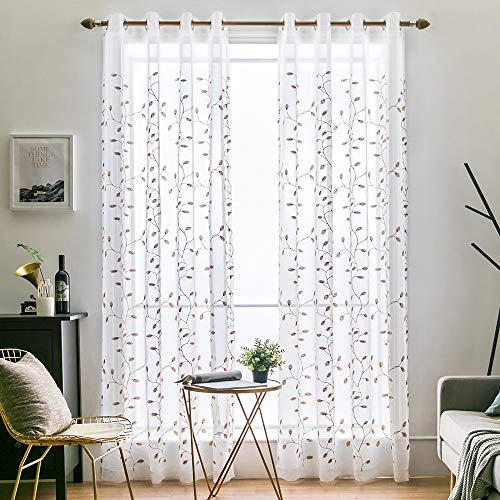 Embroidered Voile Curtains - MIULEE 2 Panels Brown Leaves Embroidered Sheer Window Curtains Beautiful Elegance Grommet Spring Feel Window Voile Panels/Drape/Treatment for Bedroom Living Room (54X84 Inch Brown)