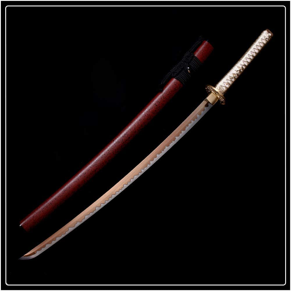 siwode Handmade Katana,Paint Blade,Copper Tang,High Carbon Steel,40-Inch