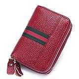 imeetu Genuine Leather Credit Card Key Wallet Car Holder Case RFID Blocking Travel Passport Wallet Secure 9 Slots,6 Key Hooks (Red)