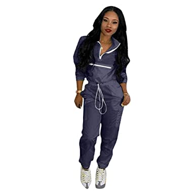 1671522c5 Amazon.com: Women 2 Piece Outfits Tracksuit Jumpsuits Lightweight  Windbreaker Pullover Jacket Crop Zipper Top Pants Set: Clothing