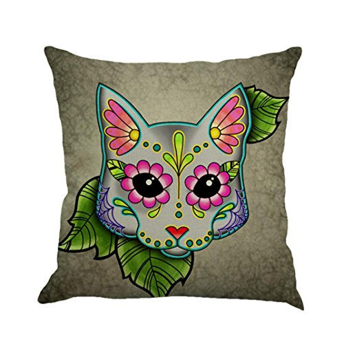Inverlee Greyhound Painted Flax Cushion Cover Throw Pillow Case Sofa Home Decor (E)