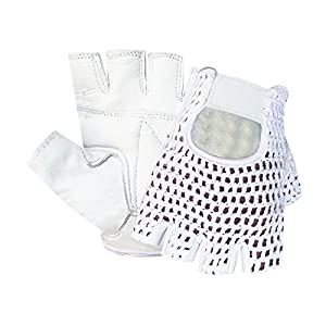 Prime Leather Top Quality Finger Less Net Gloves Cycle Biker Gym Cycling Driving Body Building Weight Lifting 404 White Leather White Mesh (White/white, M)