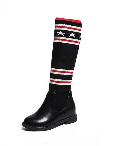 7695f12a7385 Minetom Femmes Bottes Hautes Longue Au Dessus du Genou Élégant Couture  Chaussettes en Tricot Élastique Chaussures