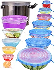 longzon Silicone Stretch Lids 14 Pack Include 2Pcs XXL Size up to 9.8'' Diameter, Reusable Durable Food Storage Covers for Bowl, 7 Different Sizes to Meet Most Containers, Dishwasher & Freezer Safe