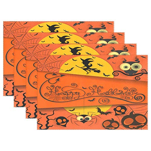 Promini Happy Halloween Pumpkin Dining Kitchen Decor Table Mat Placemat,Skull Autumn Table Mats Placemats Non Slip Stain Heat Resistant in for Indoor Home House Kitchen Hotel Office Set of 4