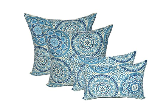 "Set of 4 Indoor / Outdoor Pillows - 17"" Square Throw Pillows & Rectangle / Lumbar Decorative Throw Pillows - Wheel Indigo - Blue, Ivory Large Sundial"