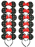 RufNTop Mickey and Minnie Mouse Polka Dots Ears Headband for Boys and Girls Costume Accessory for Birthday Party or Celebrations(Dots Black Pack of 12)