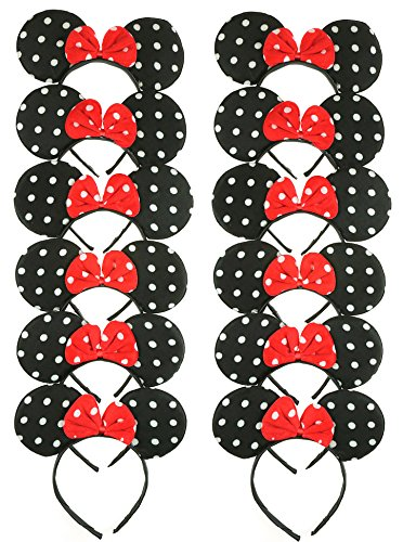 RufnTop Mickey and Minnie Mouse Ears Headband(Dots Black Set of 12)