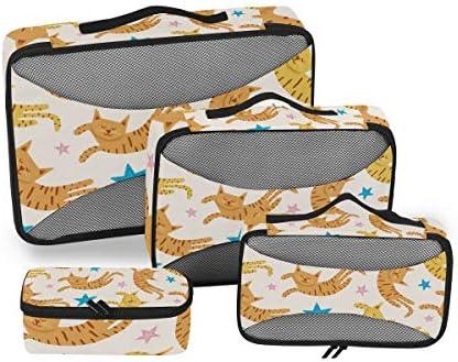 星猫子猫荷物パッキングキューブオーガナイザートイレタリーランドリーストレージバッグポーチパックキューブ4さまざまなサイズセットトラベルキッズレディース
