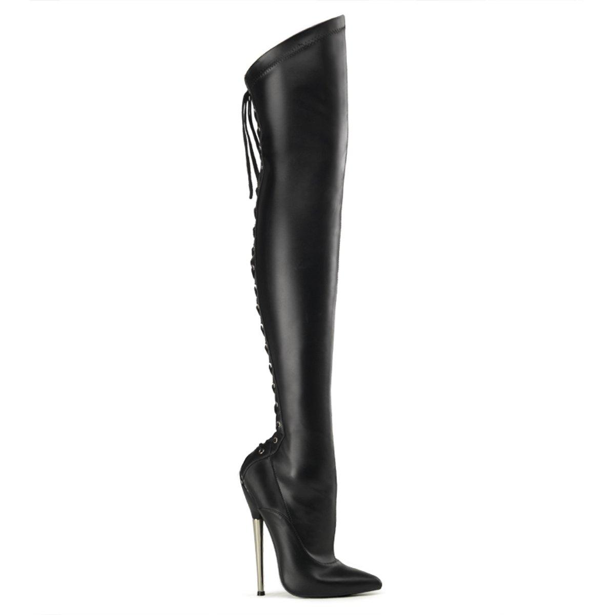 Devious DAGGER-3060 6 1/4 Solid Brass Heel Back Lace-Up Thigh BT B00IA640O8 8 B(M) US|Black Stretch Pu