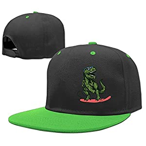 MAKS&&QA/1 Boy's Girl's Adjustable Curved Visor Trucker Cap Happy Dinosaur Surfer Wearing Sunglasses Baseball Hats for Under 13