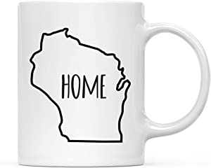 Andaz Press 11oz. US State Coffee Mug Gift, Home Text, Wisconsin, 1-Pack,