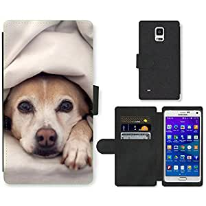 Hot Style Cell Phone Card Slot PU Leather Wallet Case // M99999825 Dog Puppy Pattern // Samsung Galaxy Note 4 IV
