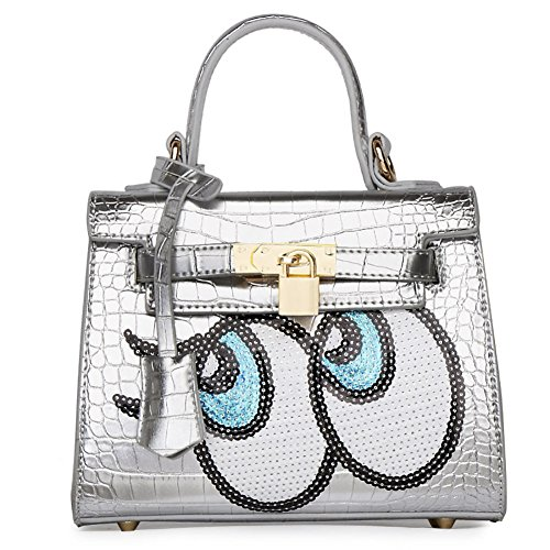 PU Silver Padlock Handle Buckle Paillette Leather Fashion Women's Eyes Top Big Zipper Belt QZUnique Bag Metalic pPZq5cwHW