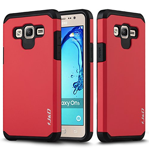 J&D Case Compatible for Galaxy On5 Case, Heavy Duty [Dual Layer] Hybrid Shock Proof Protective Rugged Bumper Case for Samsung Galaxy On5 Case - Red