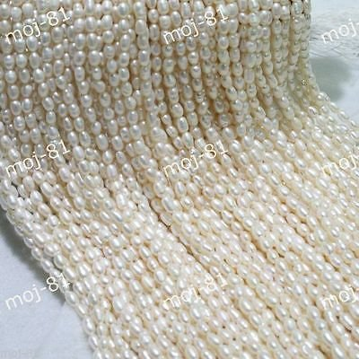 Genuine 4-5mm White Natural Freshwater Pearl Rice Loose Beads 15'' AAA