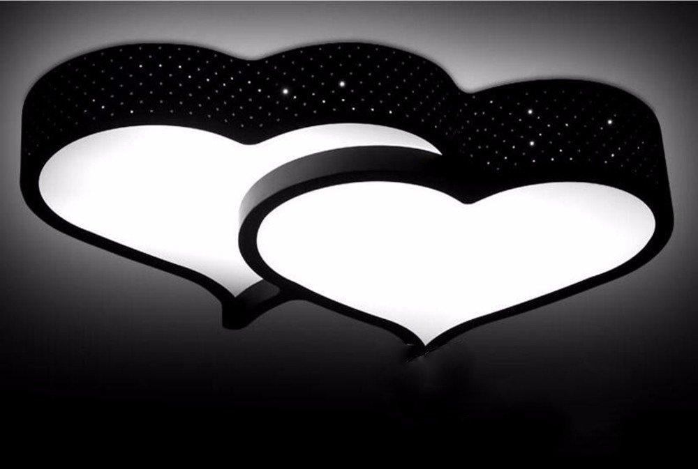 MeloveCc Deckenleuchte Ledthat Kreativität Schlafzimmer Wohnzimmer Persönlichkeit Restaurant Home Lighting Heart-Shaped Zimmer und Ehe. Schwarz weißes Licht 30 W 54  40  9 Cm