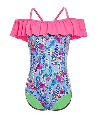 BELLOO Kids Big Girls One Piece Swimsuit Ruffle Design Blue Flowers Swimwear 4-5