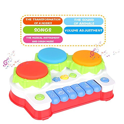 51vD2ast%2BML - TINOTEEN Baby Musical Toys for Toddler, Piano and Drum Musical Instruments Toys