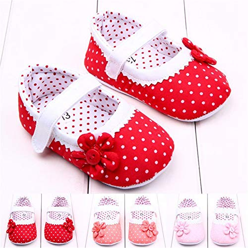 New Arrival Baby Girls Shoes Princess Dots Flowers Soft Cotton Newborn Toddler Crib Shoes Infant Sole Anti-Slip First Walker Dark Pink, 13-18months/_13cm