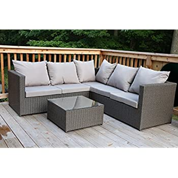 Oliver Smith - Large 4 Pc Modern Rattan Wiker Sectional Sofa Set Outdoor Patio Furniture -  sc 1 st  Amazon.com : rattan sectional sofa - Sectionals, Sofas & Couches