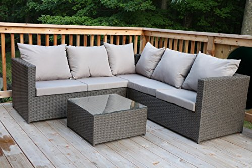 Oliver Smith - Large 4 Pc Modern Rattan Wiker Sectional Sofa Set Outdoor Patio Furniture - Fully Assembled - Aluminum Frame with Ottoman - 908 Grey (Grey Rattan Patio Furniture)